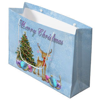 Bulbos do Natal da árvore de Natal da rena Sacola Para Presentes Grande