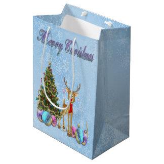 Bulbos do Natal da árvore de Natal da rena Sacola Para Presentes Média