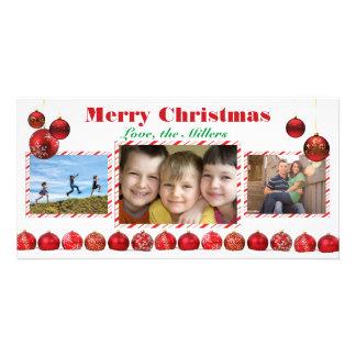 Bulbos vermelhos do Feliz Natal - cartão com fotos Cartão Com Foto