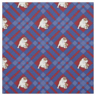 Buldogue azul da xadrez tecido