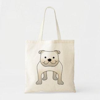 Buldogue branco. Desenhos animados bonitos do cão Bolsas Para Compras