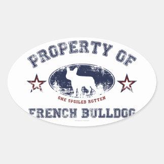 Buldogue francês adesivos em formato oval