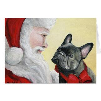 """""""Buldogue francês cartão de Natal no regaço do"""