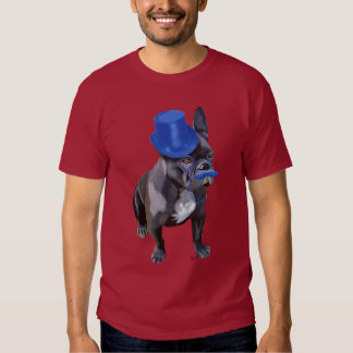 Buldogue francês com chapéu alto e o Moustache T-shirts