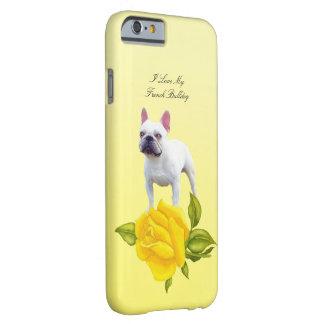 Buldogue francês e rosas amarelos capa barely there para iPhone 6