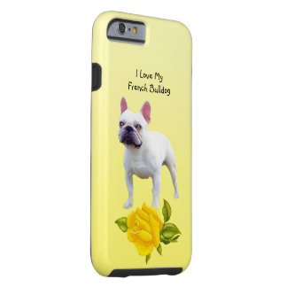 Buldogue francês e rosas amarelos capa tough para iPhone 6