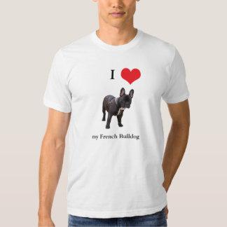 Buldogue francês eu amo o t-shirt dos homens do