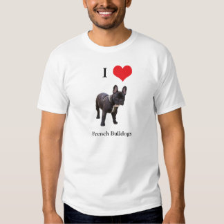 Buldogue francês eu amo o t-shirt unisex do