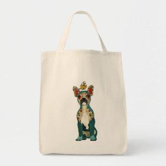 Buldogue francês & saco pequeno do pássaro sacola tote de mercado