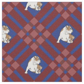 Buldogue vermelho da xadrez tecido