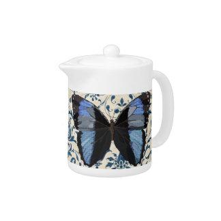 Bule azul da borboleta de Boho