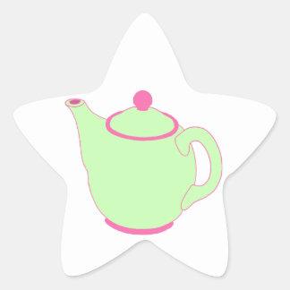 Bule cor-de-rosa e verde adesito estrela