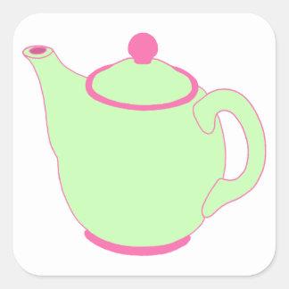 Bule cor-de-rosa e verde adesivo em forma quadrada