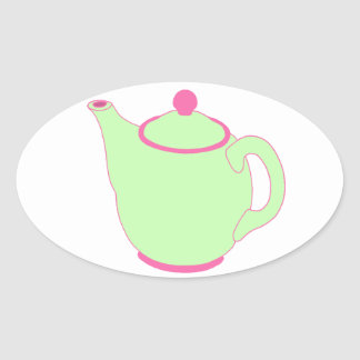 Bule cor-de-rosa e verde adesivos ovais