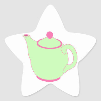 Bule cor-de-rosa e verde adesivos estrelas
