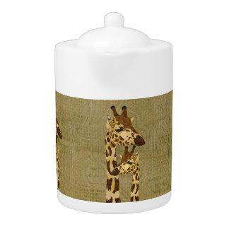 Bule de bronze dourado dos girafas
