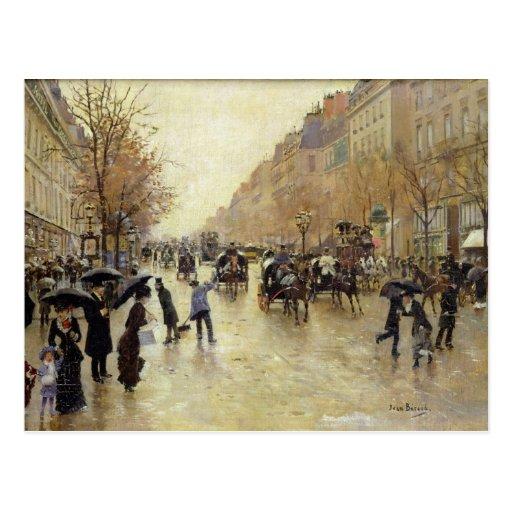 Bulevar Poissonniere na chuva, c.1885 Cartão Postal