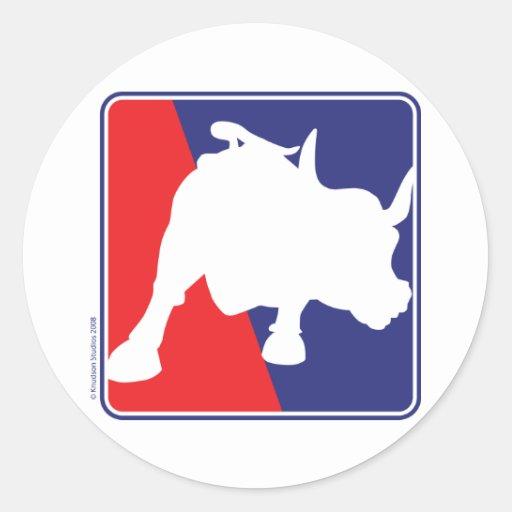 Bull branca de Wall Street e azul vermelha Adesivo Redondo
