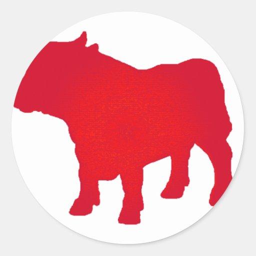 Bull considera o vermelho adesivos em formato redondos