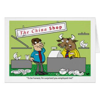 Bull em um cartão da loja de China