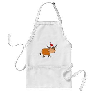 Bull engraçada no design do Natal do chapéu do pap Avental