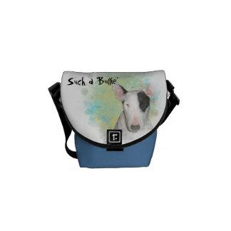 Bull terrier azul & branco, mini saco da borboleta bolsas mensageiro