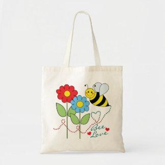 Bumble a abelha com amor da abelha das flores bolsa para compras