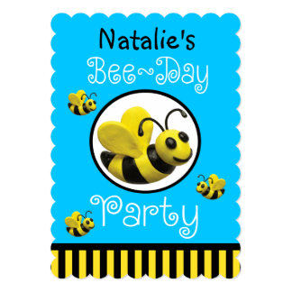 Bumble a festa de aniversário da abelha convites personalizados
