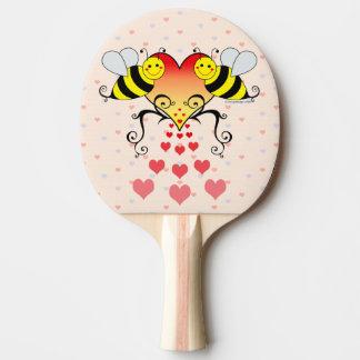 Bumble abelhas com design dos corações raquete para ping-pong