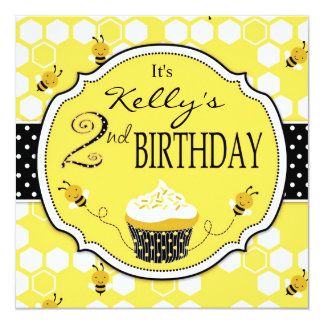 Bumble aniversário do cupcake da abelha o segundo convite quadrado 13.35 x 13.35cm