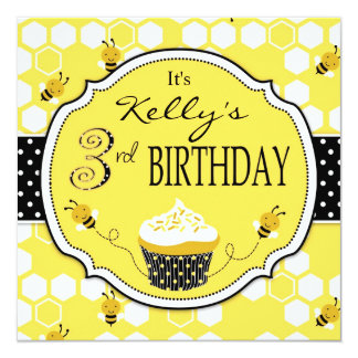 Bumble aniversário do cupcake da abelha o terceiro convite quadrado 13.35 x 13.35cm