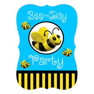 Bumble o aniversário do partido da abelha convite 12.7 x 17.78cm