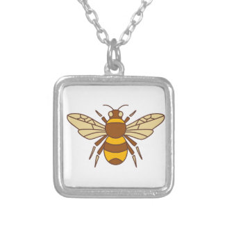 Bumble o ícone da abelha colar banhado a prata