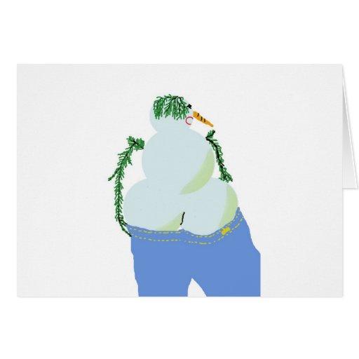 bumbum de w do snowwoman nos jeans cartões