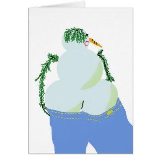 bumbum de w do snowwoman nos jeans cartão comemorativo