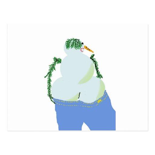 bumbum de w do snowwoman nos jeans cartões postais