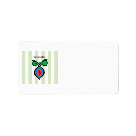Buon verde vermelho/azul de Natale do ornamento de Etiqueta De Endereço