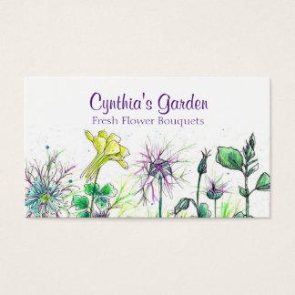 Buquê aquilégia dos Wildflowers da aguarela de Cartão De Visitas