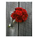 Buquê & Barnwood da rosa vermelha Posteres