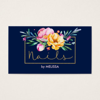 Buquê colorido Unhas-Moderno das flores Cartão De Visitas