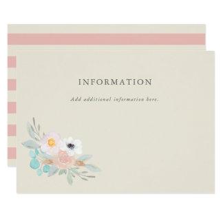 Buquê da aguarela, cartão de informação do chá de