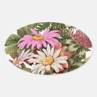 buquê da flor adesivo oval