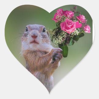 Buquê da marmota adesivo coração