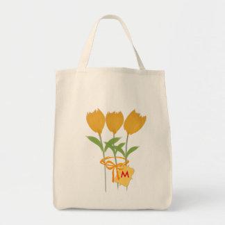 Buquê da tulipa do amarelo do florista do sacola tote de mercado