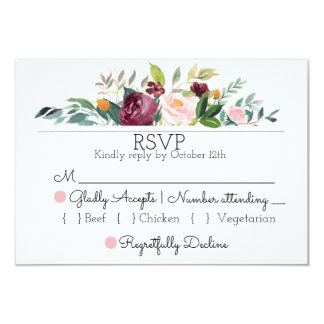 Buquê de Borgonha que Wedding o cartão de RSVP