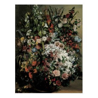 Buquê de Courbet das flores em um vaso Cartões Postais
