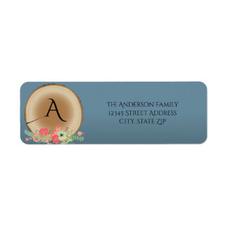 Buquê de madeira rústico - etiqueta de endereço