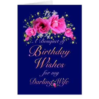 Buquê do aniversário da esposa das flores e dos cartão comemorativo