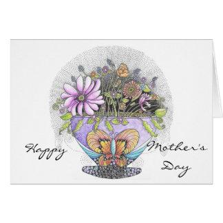 Cartão Buquê do cartão do dia das mães das flores
