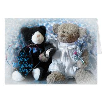 Buquê do casamento do urso cartao